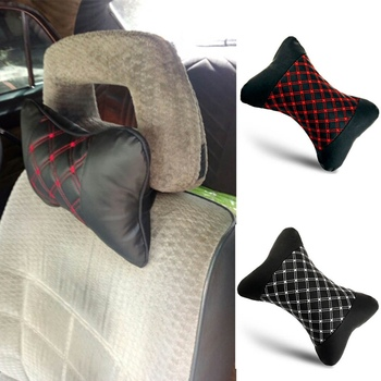 Genuine Leather Car Seat Neck Pillow Protection Safety Auto Headrest Support Rest Cushion Black Car Seats Accessories