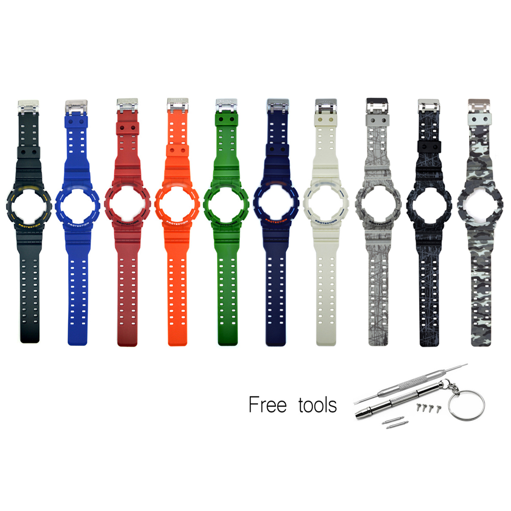 Replacement Watch Strap Band Bezel Cover Compatible With Casio G-Shock GA-100/ GA 110/ GA 120 GD-100/110/120 GLS-100 GAX-100