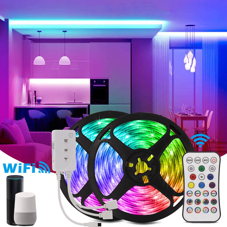 Wifi Led Strip RGB 5050 Festoon Waterproof LED Light DC 12V Tape Diode 5M 10M 15M 20M Flexible Ribbon Wifi Control Nylon Light