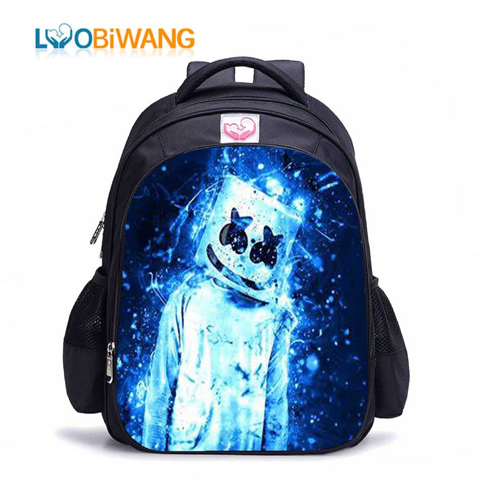 LUOBIWANG DJ Marshmellow Backpack For School Teenagers Girls And Boys Waterproof Primary Childrens School Bags For Kids Mochila