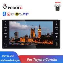 Автомагнитола Podofo, 2 din, 7 дюймов, Android/IOS, MirrorLink, Bluetooth, USB, MP5, мультимедийный плеер для Toyota Corolla, Универсальная автомобильная стереосистема