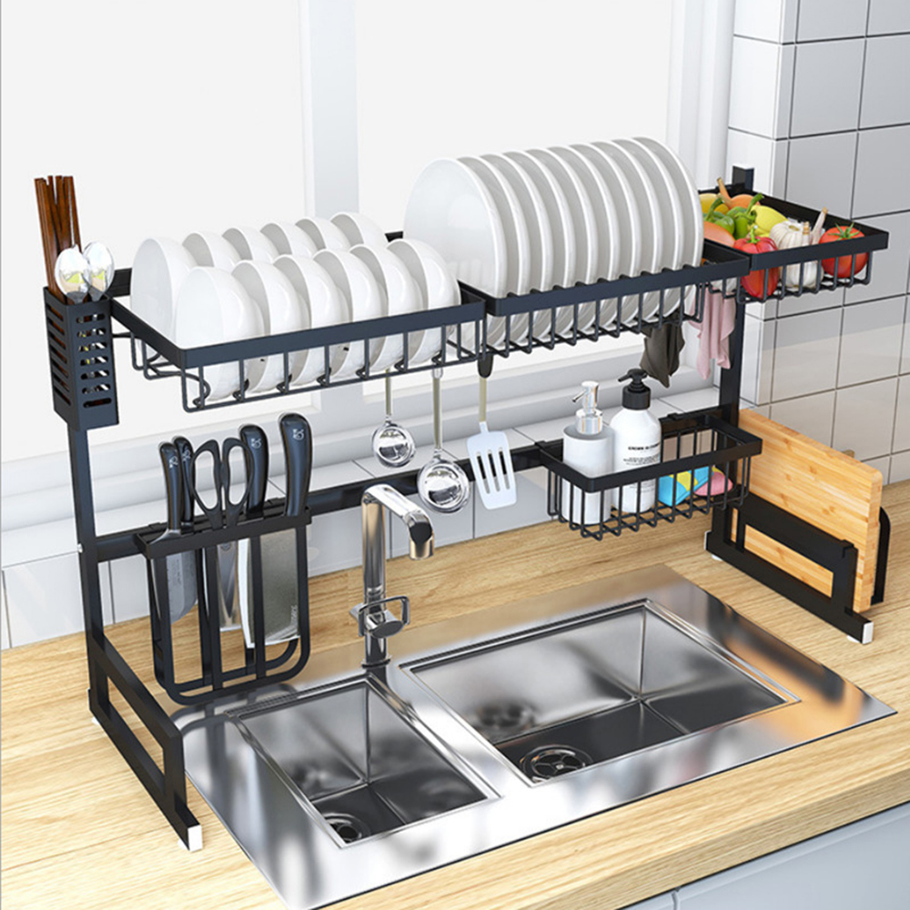 Kitchen Sink Rack Dish Rack Stainless Steel Sink Drain Rack Drying Storage Holder 2 Layer Kitchen Dish Shelf Organizer