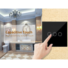 Household 3 single fire line smart switch panel home wall touch screen glass panel lighting lighting switch standard