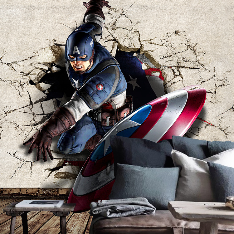 America Captain Broken Wall Large Cool Mural Bar KTV Box Coffee Shop Lounge Wallpaper Wall
