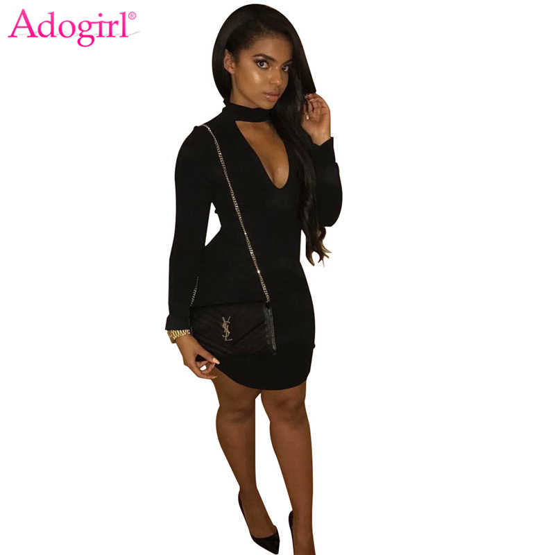 Adogirl, однотонное Черное женское сексуальное облегающее Клубное платье, чокер, v-образный вырез, длинный рукав, открытая спина, тонкие Мини повседневные платья, Клубная одежда для вечеринки