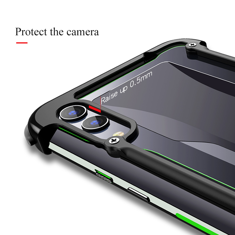 OATSBASF Airbag Metal Case For Xiaomi Black shark 2 2pro Personality Metal Bumper Cover Case For Xiaomi Black shark helo Case