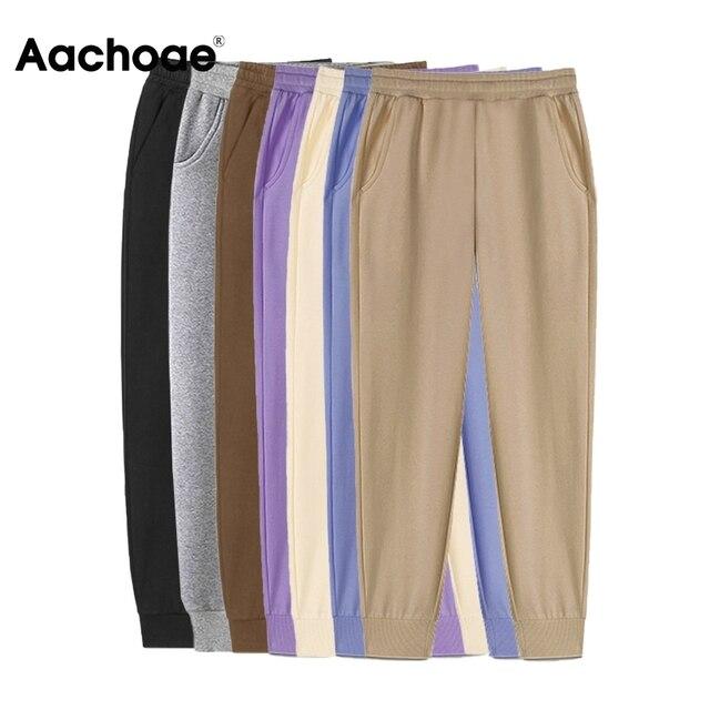 Aachoae 2021 Women Unisex Couple Fleece 100% Cotton Suits 2 Pieces Sets Casual Tracksuit Hoodies Sweatshirt Pants Plus Size 5