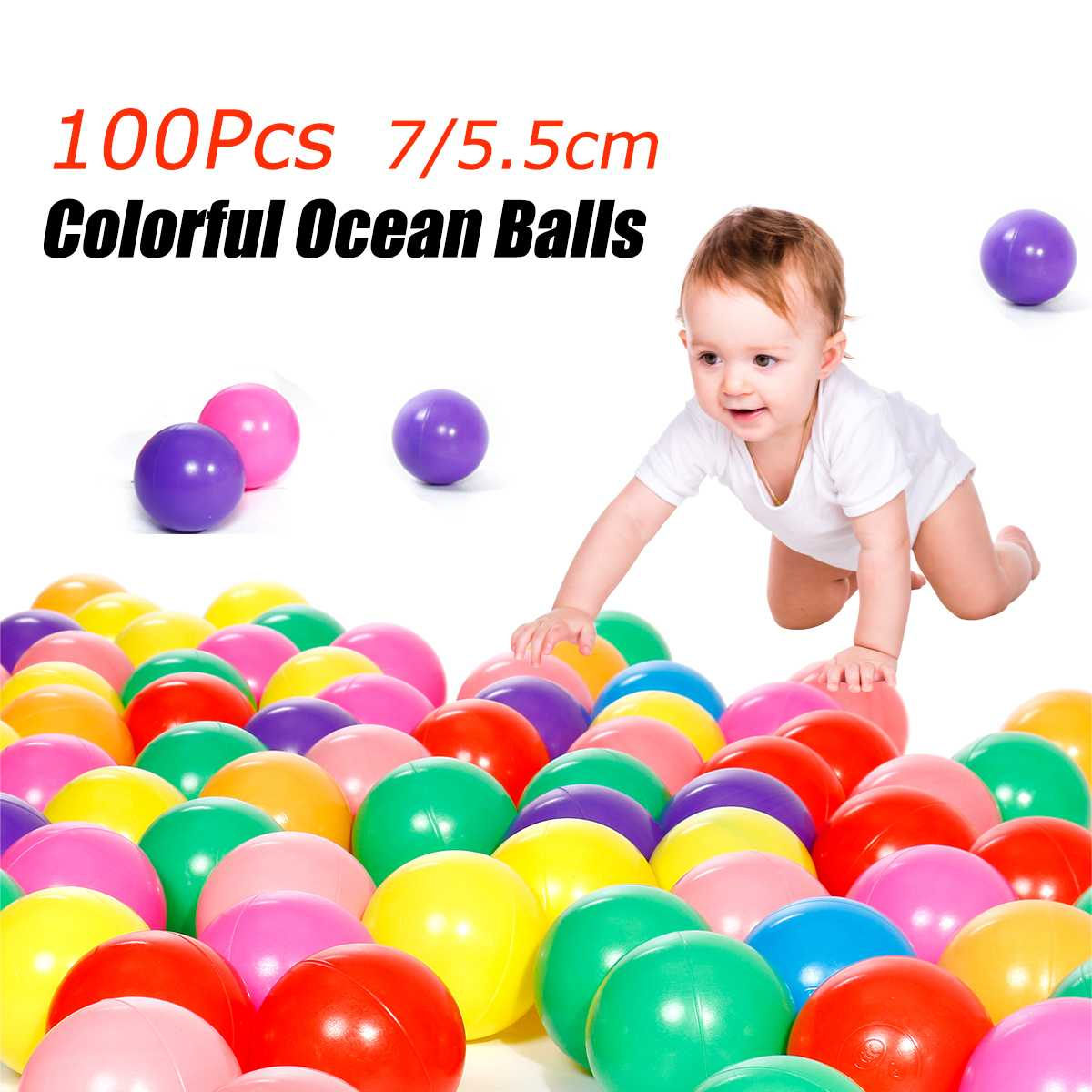 100 Pcs/lot 7cm Eco-Friendly Colorful Ball Soft Plastic Ocean Ball Funny Baby Kid Swim Pit Toy Water Pool Sensory Baby Toy
