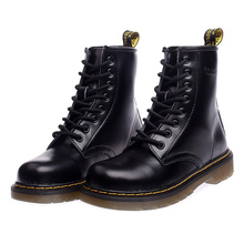 цены Women's Boots Genuine Leather Ankle Boots For Women Shoes Lace-Up Women Winter Boots Fashion Motorcycle Boots Lovers Red Booties