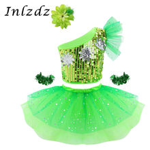 Kids Girls Modern Hip Hop Jazz Dancewear Costume Outfit Sparkly Sequins Crop Top with Mesh Tutu Skirt Hair Clip Wristband Set(China)