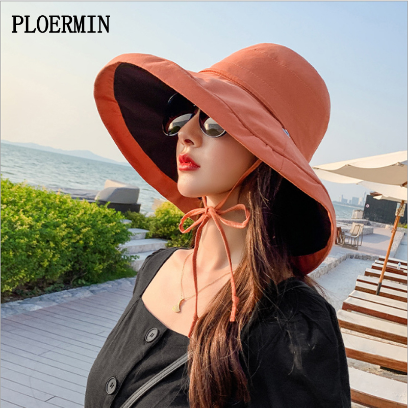 2020 Spring SummerLady Bucket Hats Women Outdoors Solid Color Large Brim Sun Hat Foldable Fisherman Hats UV Protection Beach Hat