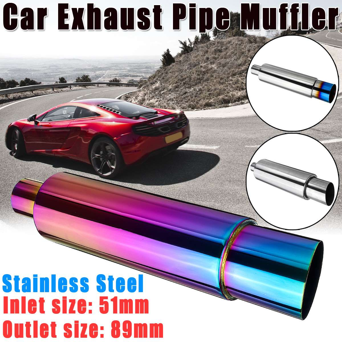 2'' Inlet 3.5'' Outlet Car Motorbike Exhaust Muffler Tip Universal Stainless steel ID 51mm outlet 89mm Silencer tail pipe muffle