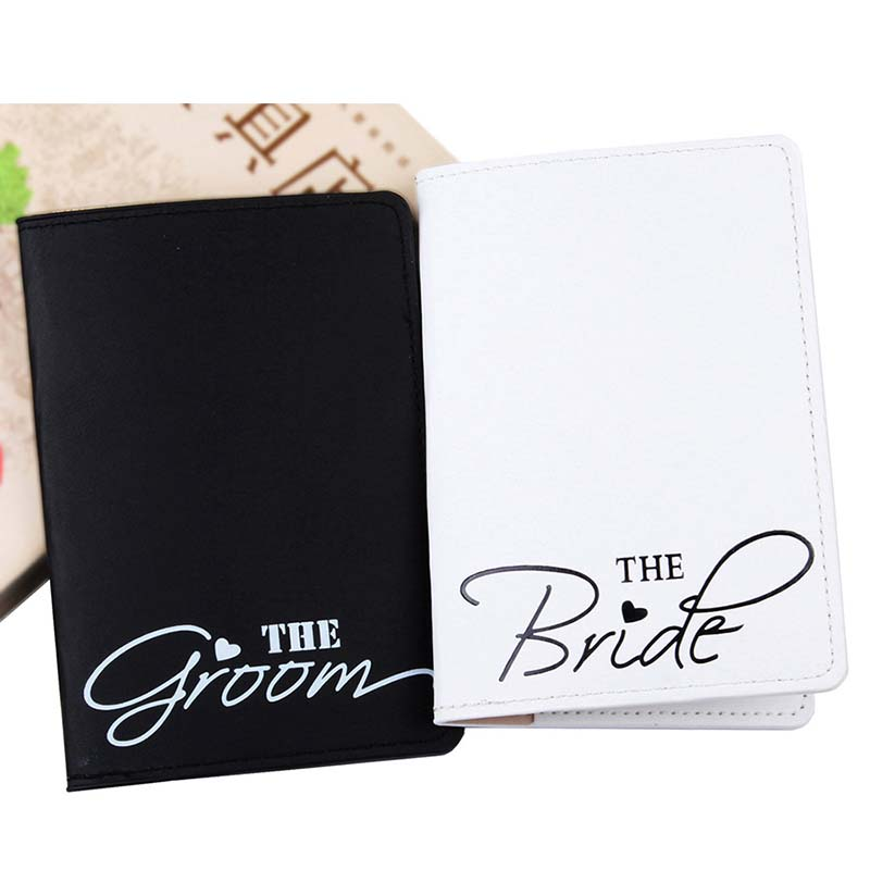 The Bride & Groom Travel Accessories Women Men Passport Holder PU High Quanlity Travel Cover On The Passport Girl Passport Cover