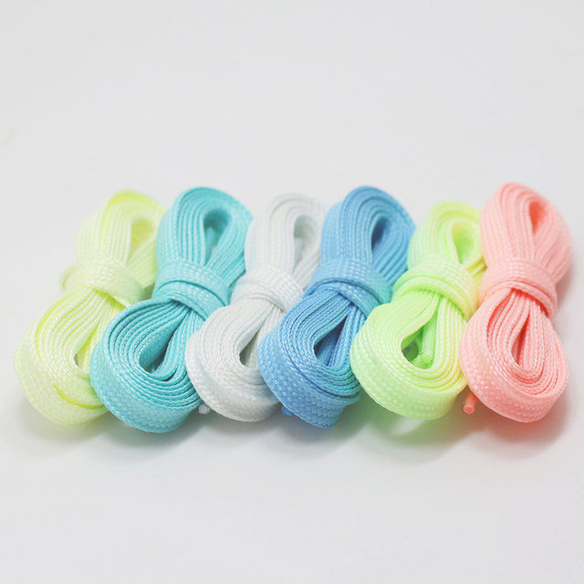 1 Pair Luminous Shoelaces Flat Sneakers Canvas Shoe Laces Glow In The Dark Night Color Fluorescent Shoelace 80/100/120/140cm 1