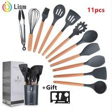 Nuevos Gadgets de cocina, herramientas de cocina, 12uds., el mejor juego de utensilios de cocina, juego de herramientas de cocina de silicona con ganchos de madera