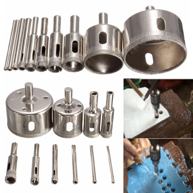 10pcs Set Diamond Glass Ceramics Marble Hole Opener Cutter Drill Bit 3~50mm For Making Clean And Accurate Hole On Glass And Tile