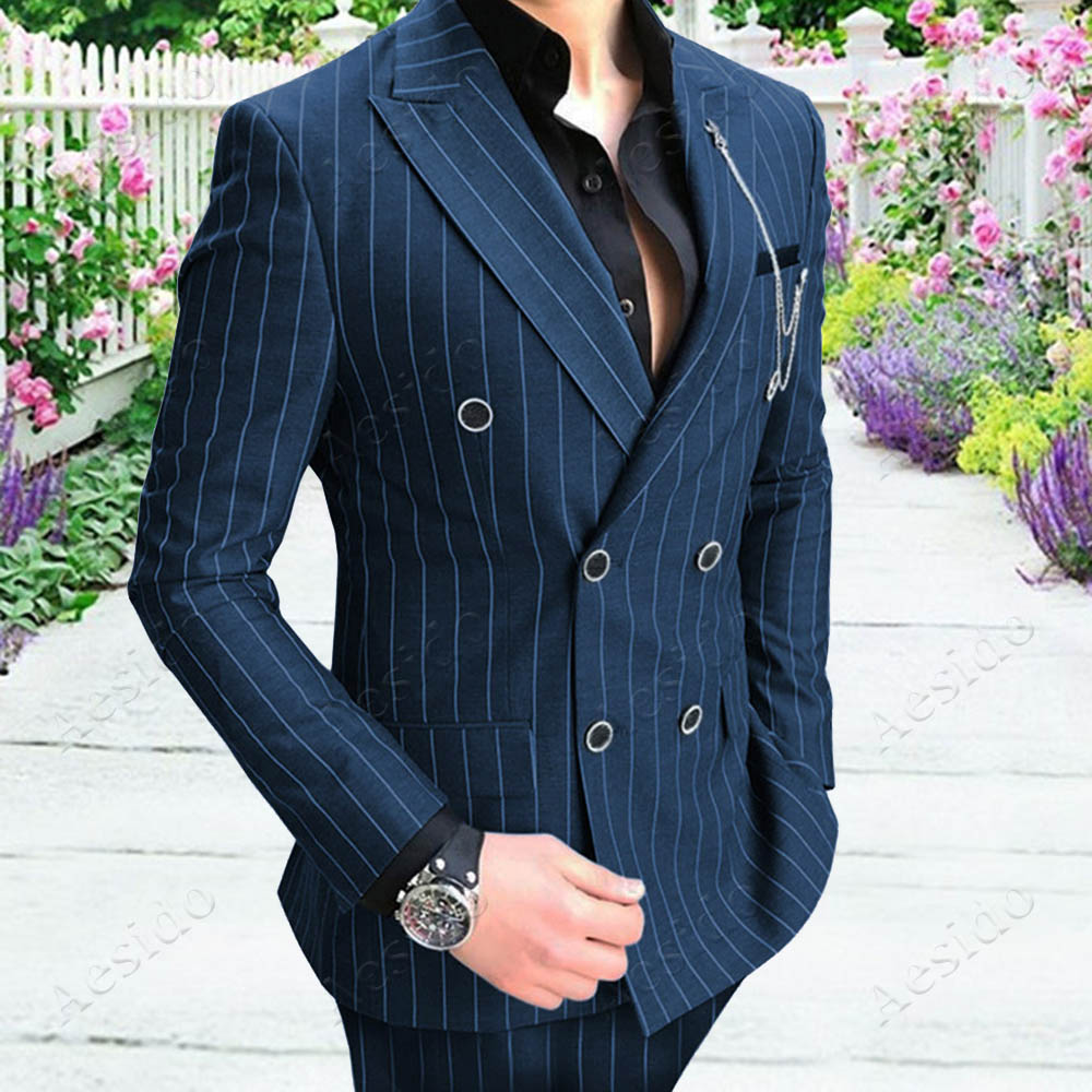 Men/'s Navy Striped Double-breasted Tuxedos 2 Pieces Classic Office Business Suit