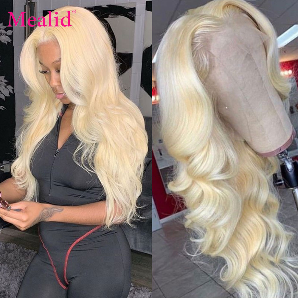 613 Lace Front Wig 13x4 Frontal Blonde Wig 32 Inch Human Hair Lace Wigs Brazilian Body Wave Glueless Pre Plucked For Women