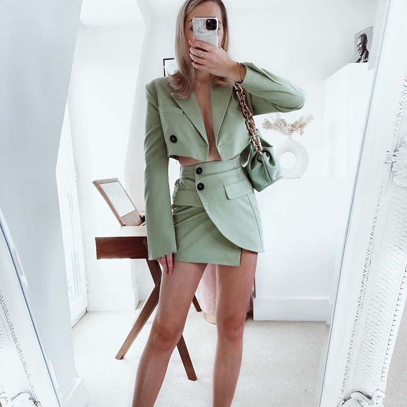 2021 New Summer Women Sexy Green Slim Tow PiecessetCropped Blazers Short Skirt Suit Fashion Casual Chic Ladi Outfits Women Suit