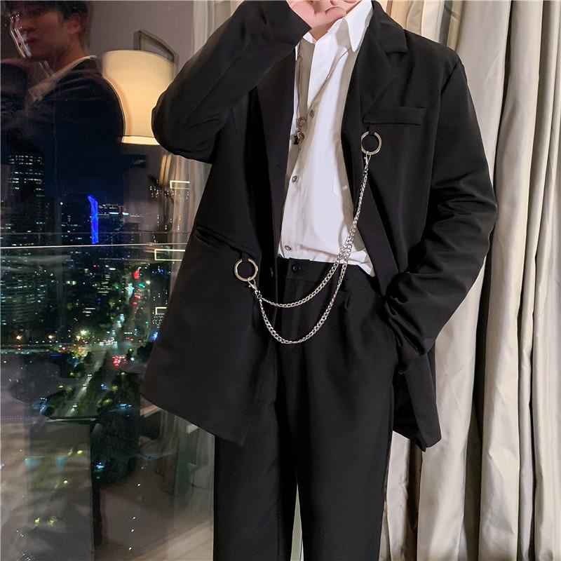 Men 2 Pieces Suits Sets Jacket+trouser Male Vintage Fashion High Street Hip Hop Iron Chain Casual Suit Jacket Pant