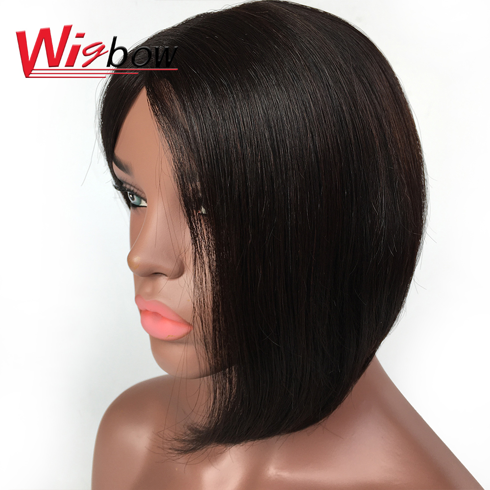 Human Hair Wigs Short Wig Bob Wig For Black Women Lace Part Pre Plucked Wigs Brazilian Remy Hair Natural Color 150% Density