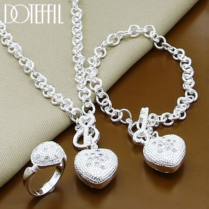 DOTEFFIL 925 Sterling Silber AAA Zirkon Herz Armband Halskette Ring Set Für Frau Hochzeit Engagement Party Charme Schmuck