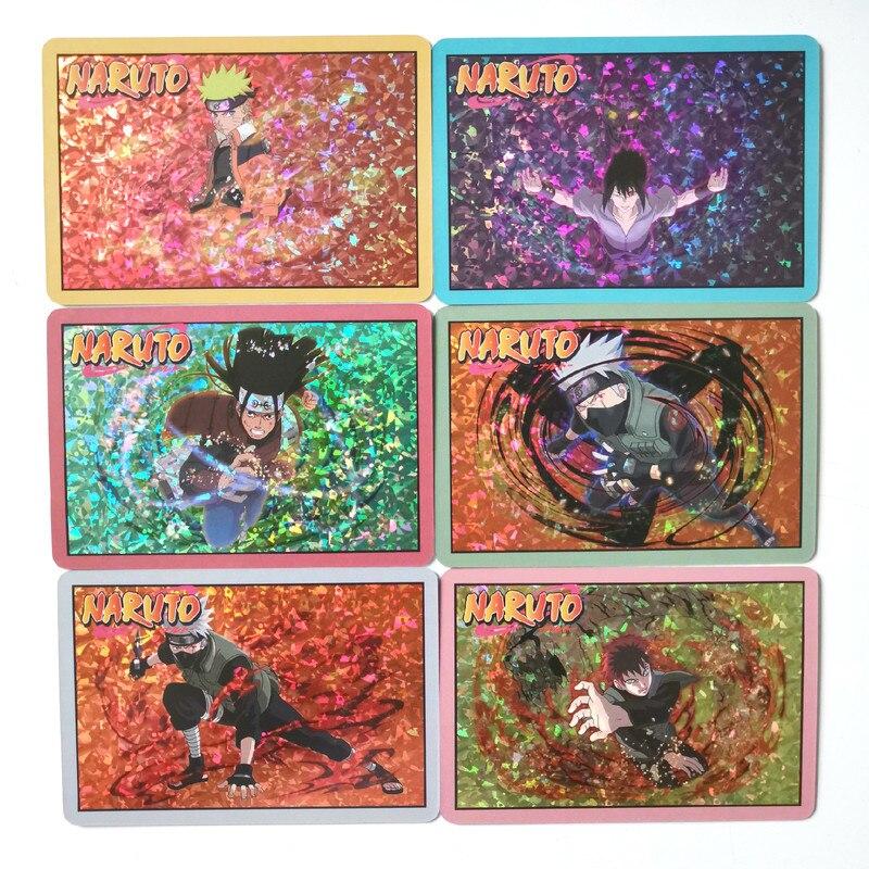 9pcs/set Naruto Uchiha Sasuke Uchiha ObitoJiren Splicing Card Game Action Toy Figures Commemorative Edition Collection Cards