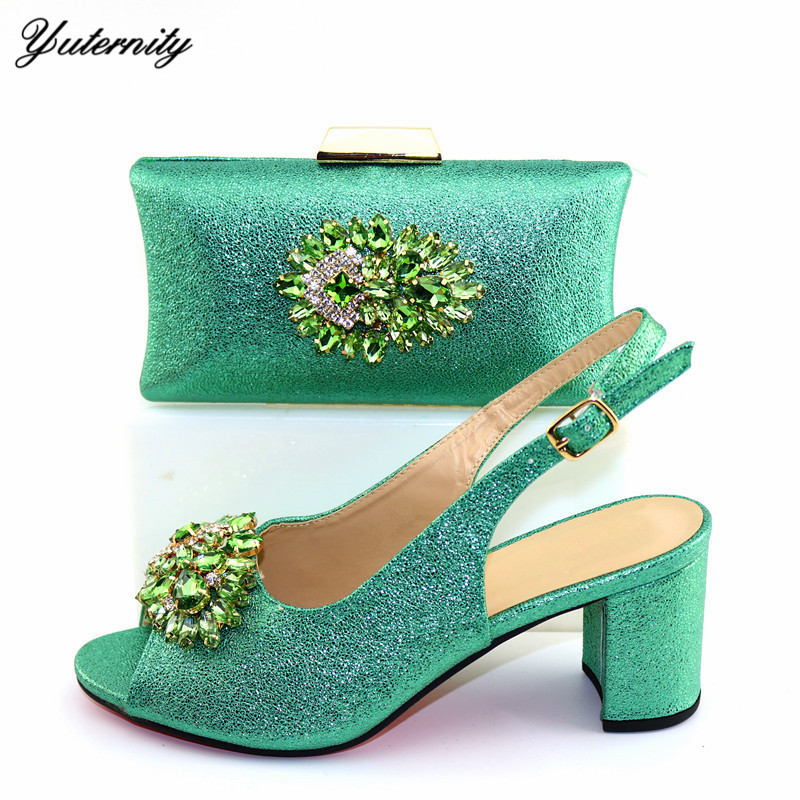Italian Green Color Shoes And Bags Set For Evening Party African Summer Pumps Shoes And Matching Bag Set For Church Dress - 2