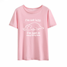 Im Not Lazy Cat Tee Shirt Femme O-neck Short Sleeve Funny T Shirt Women Loose Tshirts Cotton Women Pink Graphic Tees Women Top