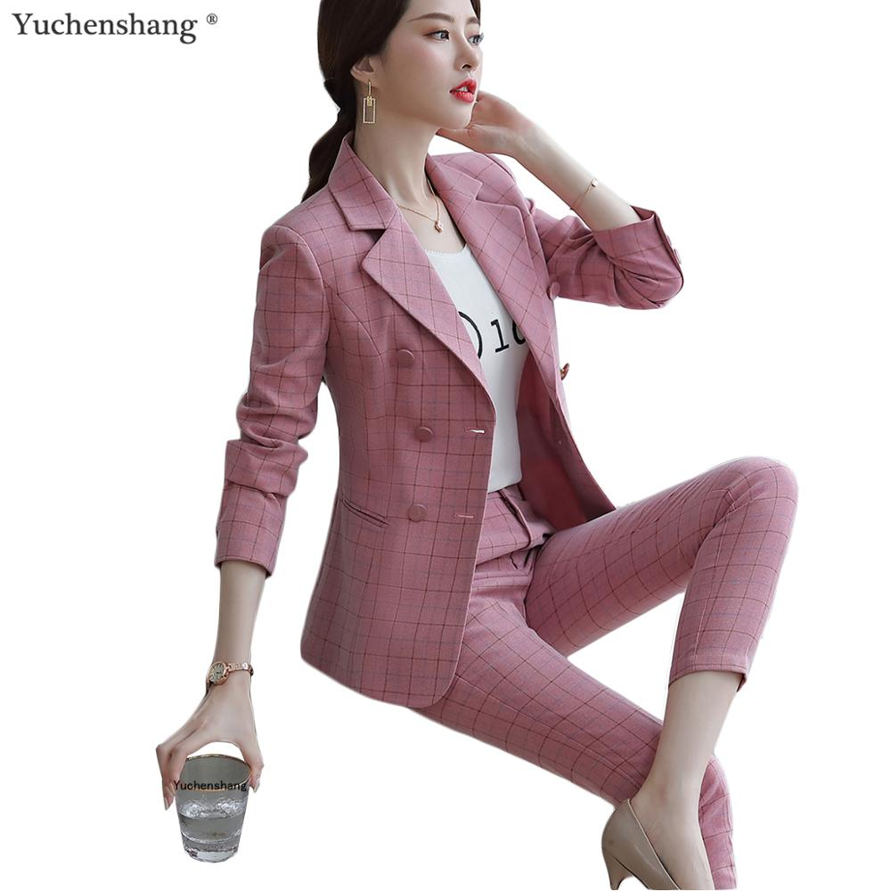 2019 Two Pieces Set Women Pink Brown Plaid Pant Suit Size S-5XL Plaid Jacket Blazer With Plaid Pant Casual Suits
