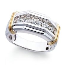 цена Fashion Two Tone White Zircon Men's Ring Luxury Wedding Band Minimalist  and Gold  Rhinestone Rings For Women Z5P666 онлайн в 2017 году