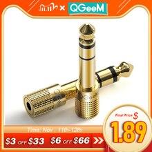 Qgeem Jack 6.5 6.35Mm Stekker Naar 3.5 Mm Vrouwelijke Connector Hoofdtelefoon Versterker Audio Adapter Microfoon Aux 6.3 3.5mm Converte