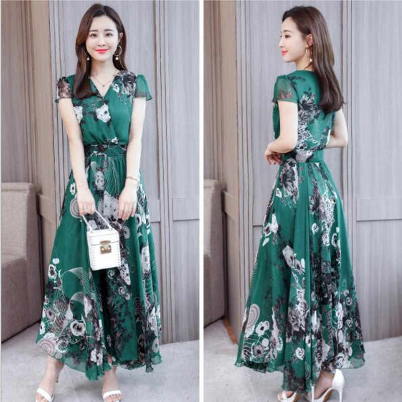 Summer Dresses Women 2019 Casual Large size dress V Neck Short Sleeves Bohemia Maxi Dresses Chiffon Print vestido de festa N225