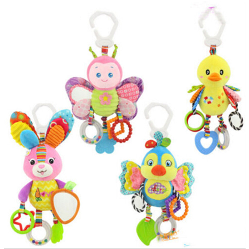 Toddler Baby Soft Plush Animal Toys With Star Teether Hanging Stroller Sound Toy