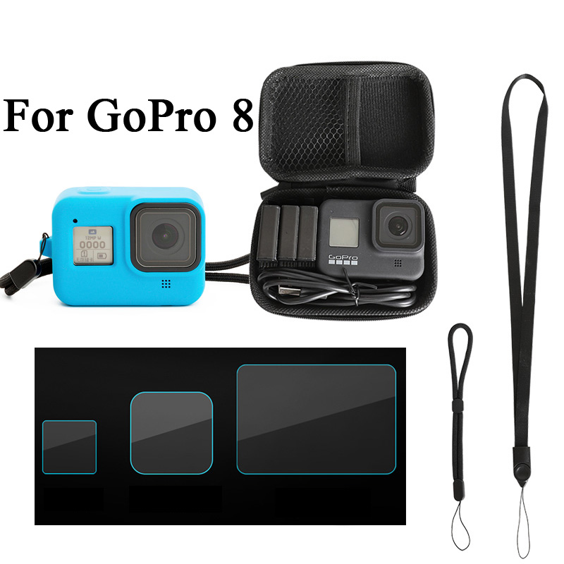 Silicone Case For GoPro Hero 8 Black Tempered Glass Screen Protector Protective Lens Film Housing Cover Bag Go Pro 8 Accessory