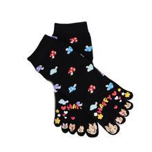 Женские милые носки с пятью пальцами; цветные чулочно-носочные изделия с рисунком гриба и кота