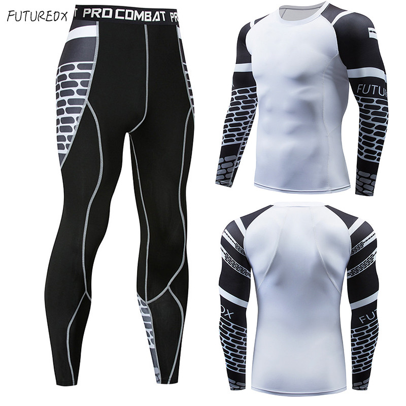 2018 Winter Thermal Underwear sports Sets  Men Quick Dry Anti-microbial Stretch