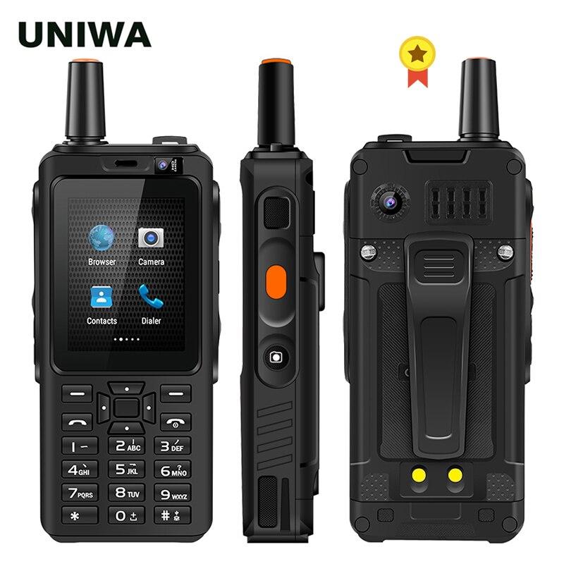 Uniwa f40 zello walkie talkie 4g telefone móvel 4000 mah impermeável áspero 2.4 smartphone core tela de toque quad core android 4g smartphone