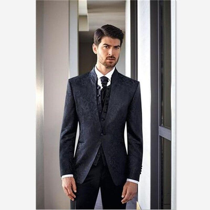 Costume Homme Mens Suit (Jacket+Pants+Vest+Tie) Stand Collar Wedding Suits For Men Jacquard Slim Fit Blazer For Groom 3 Piece