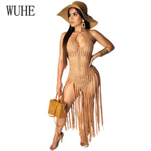 WUHE New Arrival Perspective Hollow Out Fringe Beach Dress Sexy Halter Crochet Knitted Bodycon Tassel Dresses Summer Vestidos