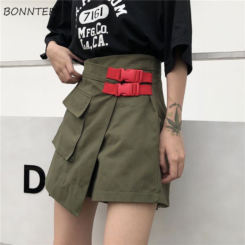 Shorts Women Solid Retro Ladies Harajuku BF A-Line Cargo Short Womens Street Leisure Couple Trendy Irregular Large Pocket Korean