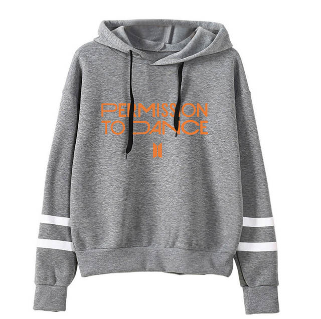 PERMISSION TO DANCE THEMED STRIPED HOODIE