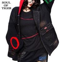 SOUL OF TIGER Winter Clothing Korean Fashion Ladies Punk Printed Denim Jackets Womens Vintage Hooded Fur Warm Coats Plus Size