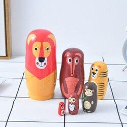 6 слоев русский матрешки Матрешка деревянные куклы лиса ручной работы мультфильмы деревянные игрушки для детей, подарки Muñeca русы-де-anidación