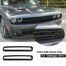 2PCS Front Grill Mesh Grille Inserts Trim, RED for Challenger ST SRT Front Grill Mesh Grille Inserts Trim Accessories for Dodge Challenger ST SRT 2015-2019
