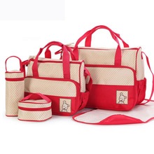 39*28.5*17CM 5pcs Baby Diaper Bag Suits For Mom Bottle Holder Mother Mummy Stroller Maternity Nappy Bags Sets