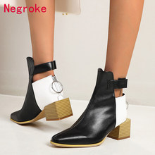 Brand Women Shoes Autumn Ankle Boots Patent Leather Zip Ladies Pointed Toe Fashion Block Low Heels Female Big Size Zapatos Mujer(China)