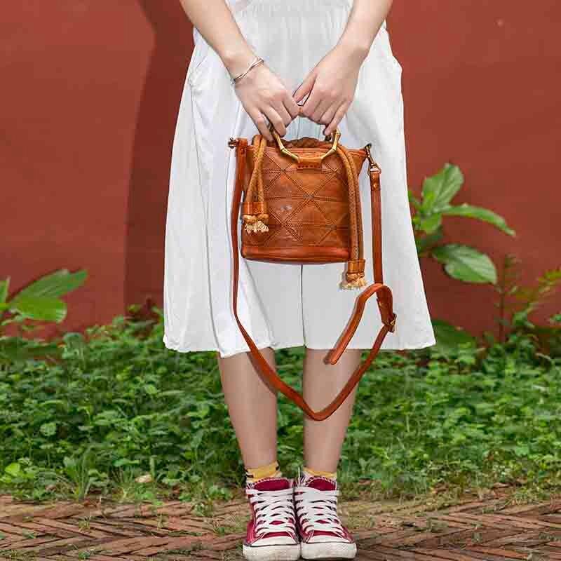 FEROUCH Drawstring Bucket Shoulder Bags Women Genuine Leather Fashion Simple Cow Leather Crossbody Messenger Women's Handbags
