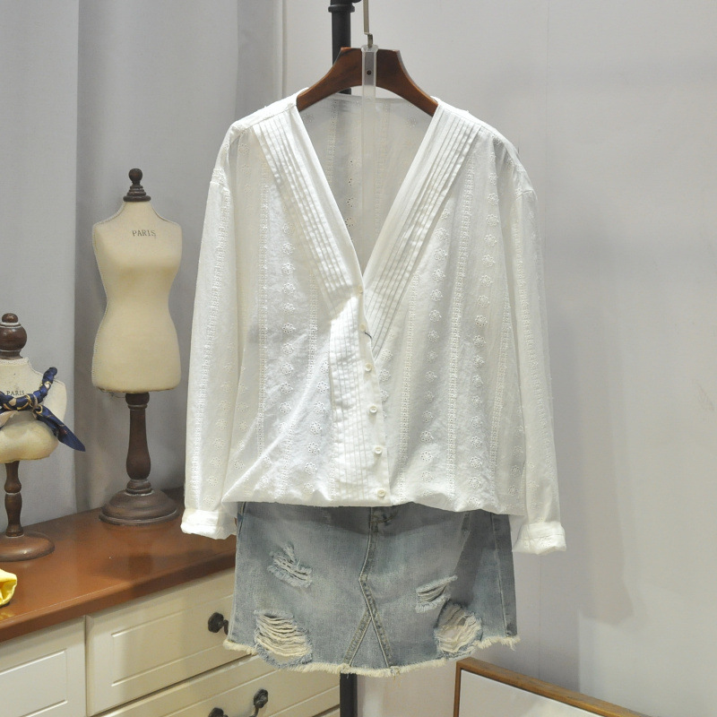 Sweet Crochet Hollow Out Lace Embroidery V-Neck Oblique Placket Shirt Chic Blouse Female 2662