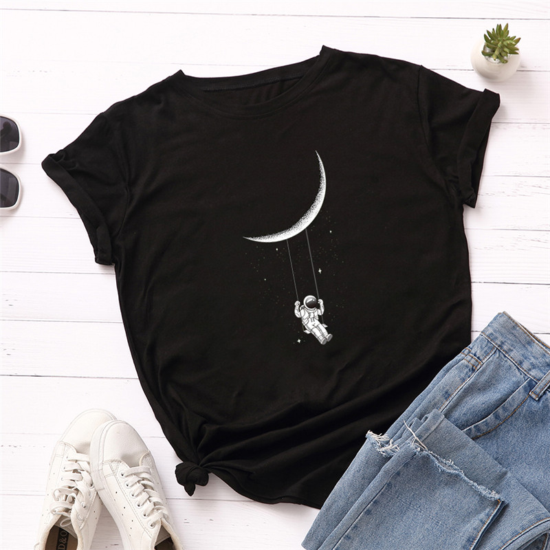 Plus Size S-5XL New Moon Astronaut Print T Shirt Women 100%Cotton O Neck Short Sleeve Summer T-Shirt Pink Tops Casual TShirt